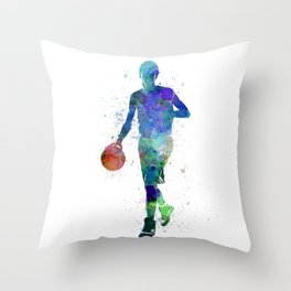 one young man basketball player dribbling silhouette in studio isolated on white background Throw Pillow