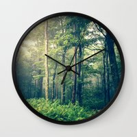 woods Wall Clocks featuring Inner Peace by Olivia Joy StClaire