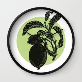 Limon tree and lime color circle Wall Clock