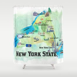 USA New York State Travel Poster Map with tourist highlights Shower Curtain