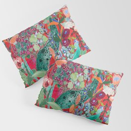 Floral Jungle on Red with Proteas, Eucalyptus and Birds of Paradise Pillow Sham