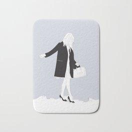 Winter Fashion Girl in the Snow Bath Mat