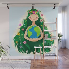 Beautiful Flowing Flower Earth Mother Figure Wall Mural
