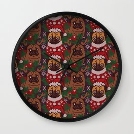 Christmas Party With The Pug Wall Clock