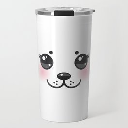 Kawaii funny albino animal white muzzle with pink cheeks and big black eyes Travel Mug