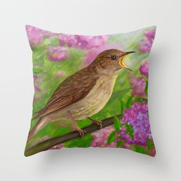 Spring nightingale Throw Pillow