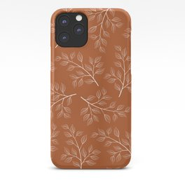 Delicate White Leaves and Branch on a Rust Orange Background iPhone Case