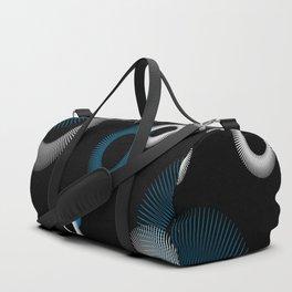 Turquoise White Starburst Pattern Black Retro Duffle Bag