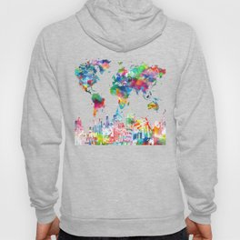 world map watercolor collage Hoody
