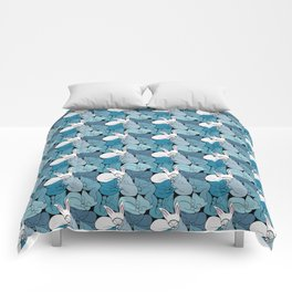 Teal Curled Up Bunny Cats Comforters