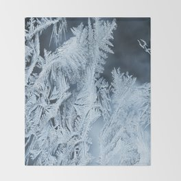 White Ice Crystals On Blue Background #decor #society6 #homedecor Throw Blanket