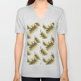 Modern gold color tropical cheese leaves pattern Unisex V-Neck