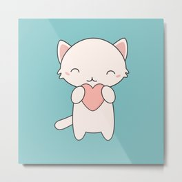 Kawaii Cute Cat With Hearts Metal Print