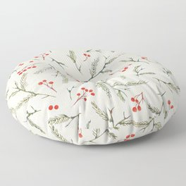 Christmas Pine and Berries Neutral Floor Pillow