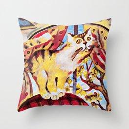 UFO Cat Throw Pillow