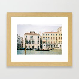 Gondola in the canals of Venice, Italy | Pastel colorful travel photography in Europe Framed Art Print