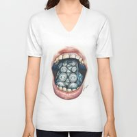 cthulu V-neck T-shirts featuring Cthulhu Lips by lunaevayg