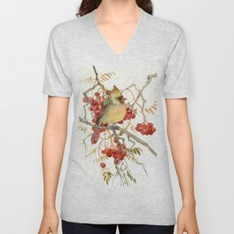 Cardinal Bird and Berries Unisex V-Neck