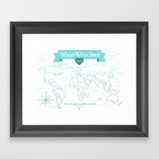 Where We've Been, World, Icy Blue Framed Art Print