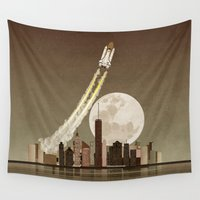 rocket Wall Tapestries featuring Rocket City by WyattDesign