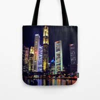 singapore Tote Bags featuring Singapore Skyline by Mark Bagshaw Photography