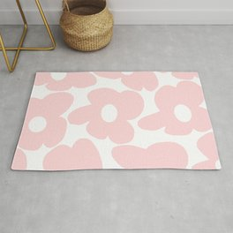Large Baby Pink Retro Flowers on White Background #decor #society6 #buyart Rug