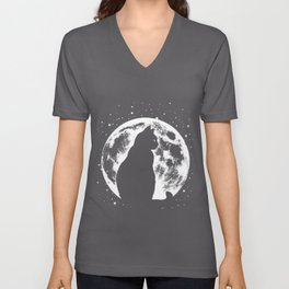 Cat Moon Silhouette Unisex V-Neck