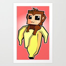 monkey banana kawaii Art Print