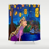 lanterns Shower Curtains featuring LANTERNS by Chris Thompson, ThompsonArts.com