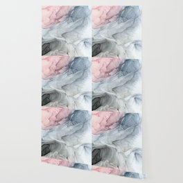 Pastel Blush, Grey and Blue Ink Clouds Painting Wallpaper