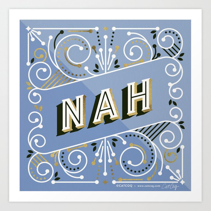 Nah – Periwinkle & Gold Palette Art Print