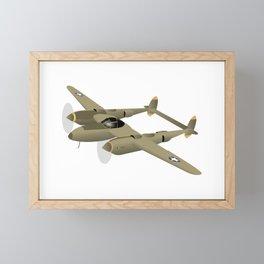 WW2 P-38 Lightning Airplane Framed Mini Art Print