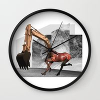 mustang Wall Clocks featuring Mustang by Lerson