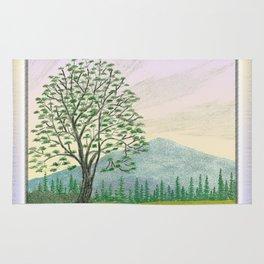 OREGON ASH TREE IN SPRINGTIME VINTAGE PENCIL COLOR DRAWING Rug