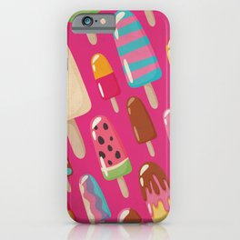 A Rainbow of Popsicles on Magenta iPhone Case