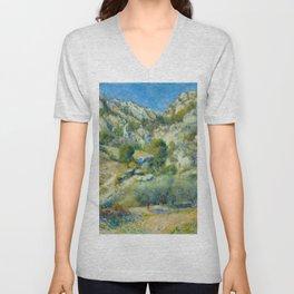 """Auguste Renoir """"Rocky Crags at L'Estaque"""" Unisex V-Neck"""