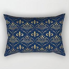 Elegant Fleur-de-lis pattern - Gold and deep blue Rectangular Pillow