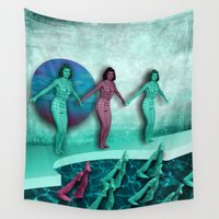 swim Wall Tapestries featuring let's swim by Rosa Picnic