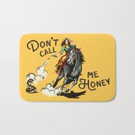 """Don't Call Me Honey"" Cowgirl On Horseback Shooting a Rattlesnake Bath Mat"