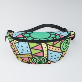 Doodle Art Flower - Pathways - Blue to Red Fanny Pack
