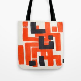 Harsh Mid Century Modern Line Pattern Ancient Aztec Ruins Orange Maze Pattern Black Accent Tote Bag