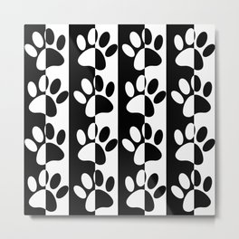 Black And White Dog Paws And Stripes Metal Print