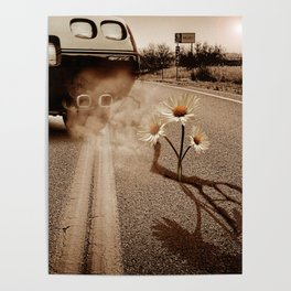 Exhausting Pipe Flowers Poster