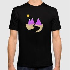 Mountains Black Mens Fitted Tee SMALL