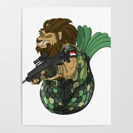 Merlion - Mermaid and Lion Singapore Navy Gift Poster