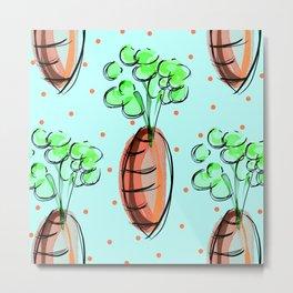 Chic Pastel Carrot Pattern Metal Print
