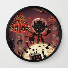 DJ Hammerhand cat - party at ogm garden Wall Clock