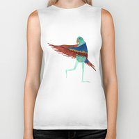 parrot Biker Tanks featuring Parrot by Jade Young Illustrations