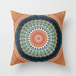 Dark Indigo Blue Orange Mandala Throw Pillow
