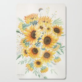 Loose Watercolor Sunflowers Cutting Board